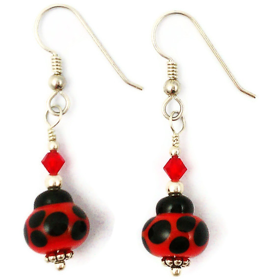 Sterling Silver, Crystal and Lampwork Ladybug Glass Earrings