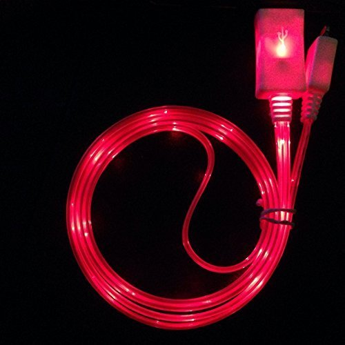 YICHUMY 2 Packs! LED LIGHT LIGHTNING cable LED Charger, Light Up Charging Cable Luminescent for IPHONE 7 7 plus 6,IPHONE 6 PLUS Light Up (Red) (Red Iphone Charger compare prices)