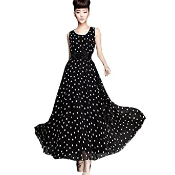 Zeagoo Women's Polka Dots Ball Gown Chiffon Maxi Vest Long Dress With Belt Small