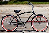 Micargi Rover GX 1-speed 26&#8243; Beach Cruiser Bike for Men Schwinn Nirve Firmstrong Style MBK (MATTE BLACK W/ RED RIMS)