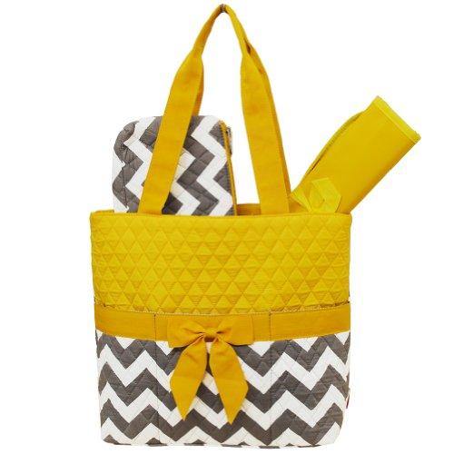 Grey & White Chevron Print 3pc. Diaper Bag (Yellow)