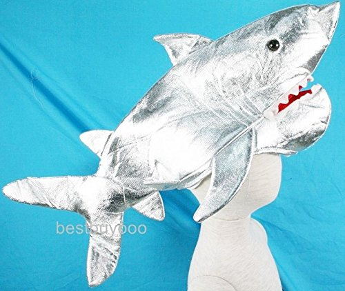 SHARK FISH FANCY COSTUME SILVER HAT MASK KIDS CAP PARTY HALLOWEEN XMAS DRESS UP (Fireman Dress Up Accessory Kit)