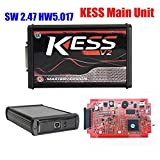 NEWEST KESS V2.47 5.017 V2 KESS V5.017 K-TAG 7.020 K TAG 7.020 V2.25 4LED Red EU Online LED BDM Frame ECU Tool 9 ECU SW Gift (KESS Main Unit) (Color: KESS Main Unit)