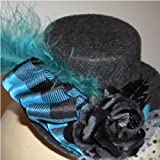 Black & Teal Rose Mini Top Hat Fascinor with Plaid Ribbon, Feather, Polka Dot Veil