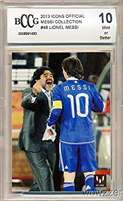 Lionel Messi Official Card Collection #48 Lionel Messi with Maradona Graded High BECKETT 10 MINT! Awesome High Grade Card of World's Biggest & Best Soccer Superstar FC Barcelona!