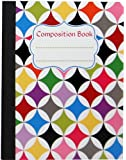 Studio C Sugarland Collection Geo Composition Book 9.75x7.5 Inches 100 Sheets Wide Ruled Board Cover Milticolored (95690)