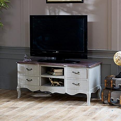 Französisch Grau Auswahl - groß TV Schrank with Schubladen