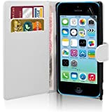 Excellent Accessories® Apple iPhone 5C Premium Quality Exclusive Leather Easy Clip On WALLET / FLIP Case / Cover / Pouch With Card Holders + Free Clear Screen Protector + Polishing Cloth