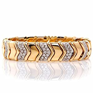 2.75cts Estate Italian Design Diamond 18k Gold Bracelet