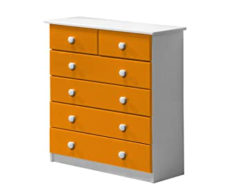 Design Vicenza Verona 4+2 Drawer Chest Whitewash With Orange Details