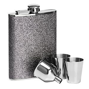 Premier Housewares Glitter Hip Flask Set - 8 oz - Silver