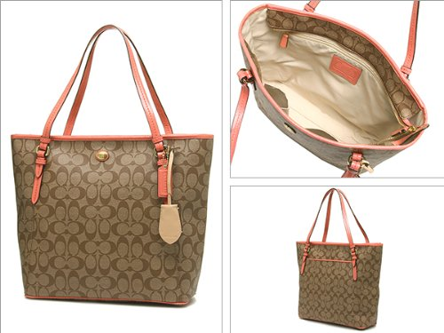 Coach   Coach 27348 Peyton Signature Zip Top Tote in Khaki & Coral