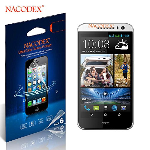 Nacodex® 6X Hd Clear Screen Protector Film For Htc Desire 616 D616W Lcd Cover Guard Shield [ 6Pcs Screen Protectors + 2X Cleaning Cloth + 1X Smoothing Card] [ W/Tracking No.]