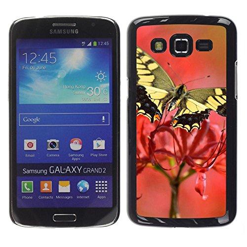 Gomma caso di Shell duro della copertura di accessorio di protezione BY RAYDREAMMM - Samsung Galaxy Grand 2 SM-G7102 SM-G7105 - Moth Butterfly Flower Spring Nature