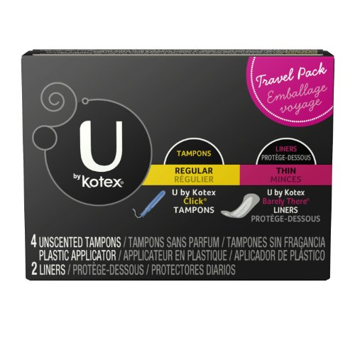 U by Kotex Travel Pack, 6 count (4 Unscented Click Tampons+2 Barely There Liners