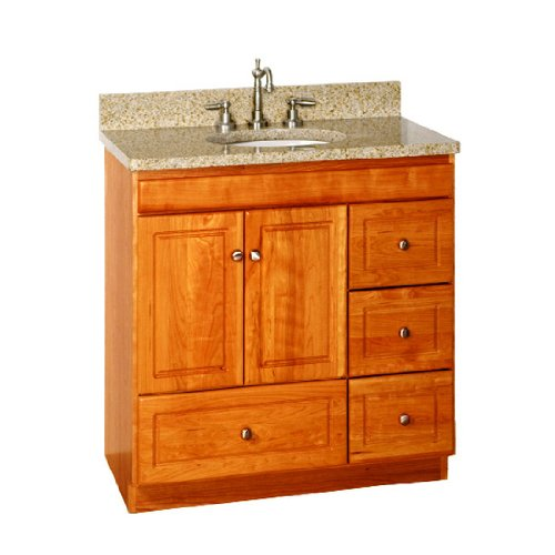 Popular  Brown 2drawer 30inch Bath Vanity Set With Dappled Grey Granite Top