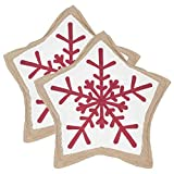 Safavieh Pillow Collection Throw Pillows, 20 by 20-Inch, Snowflake Cookie Red and White, Set of 2