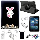 AceNear Accessory Bundle For ASUS Transformer Pad TF300 10.1-Inch Tablet - New 360 Degress Rotating Stand 3D Luxury Crystal Bling Leather Folio Case Cover , Headset Dust Plug Capacitive Stylus, Screen Protector, USB Cable, Charger, Earphone, bag, Car Charger Adapter - cute rabbit black leather