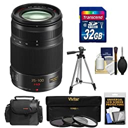 Panasonic Lumix G X Vario 35-100mm f/2.8 OIS Lens (Black) with 32GB Card + Case + 3 (UV/CPL/ND8) Filters + Tripod + Accessory Kit for Lumix DMC-G6, GF6, G5, GF5, GH3, GX1, G3, GF3 Digital Cameras