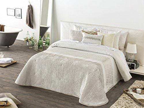 Textilhome - Colcha Bouti Jacquard AMBERES - Cama 135cm - Color Beig