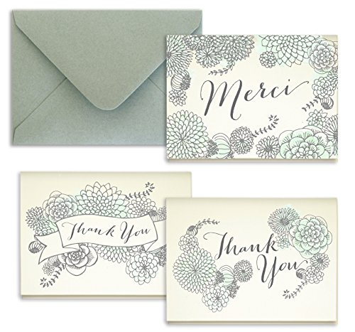 Mint Watercolor Succulent Thank You Cards - Pack of 24 - 5