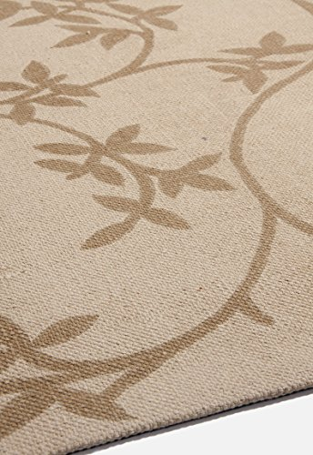 Global Accents Satin Collection - (5'x8') Branches Leaves Cotton Flat Weave Pattern Accent Royal Area Rugs for Living, Indoor & Dining Room with Decorative Printed Patterns, Fabric Backing, Size Color Sand Earth Brown - Leave Rug - Ivory rug - Gold Rug - Made in India