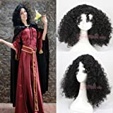 L-emai Wig™50cm/19.68inch Walt Disney World Tangled Mother Gothel Long Black Curly Wave Hair Cosplay Wigs C49