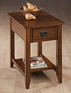 Jofran 1032-7 16 by 24 by 24-Inch Chairside Table with Picture Framed Top and Drawer with Black Mission Hardware, Mission Oak Finish