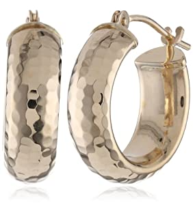 Duragold 14k Yellow Gold Half Round Diamond-Cut Hoop Earrings by Amazon Curated Collection