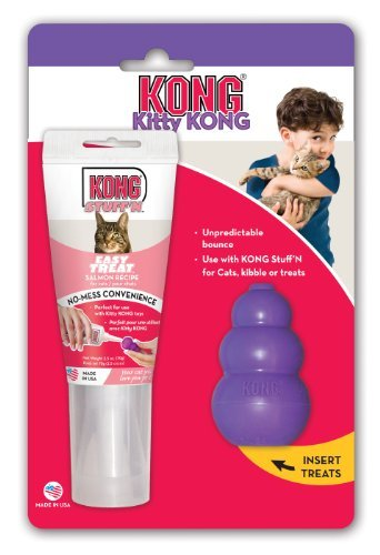 KONG Kitty KONG & Stuff'N Easy Treat Salmon Combo, Cat Toy by KONG