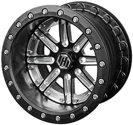 Hiper Wheel Sidewinder 2 Wheels – 14×10 – 5+5 Offset – 4/156 – Black/Machined , Color: Black, Wheel Rim Size: 14×10, Bolt Pattern: 4/156, Rim Offset: 5+5, Position: Front/Rear 1410-POL01-55-DBL
