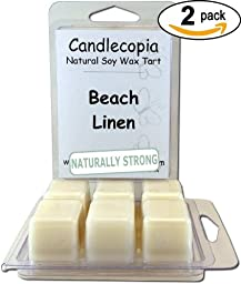 Candlecopia Beach Linen 6.4 oz Scented Wax Melts - An airiness that\'s incredibly fresh, paired with the herbal, floral, and citrus notes of the best clean cotton - 2-Pack of naturally strong scented soy wax cubes throw 50+ hours of fragrance when melted i