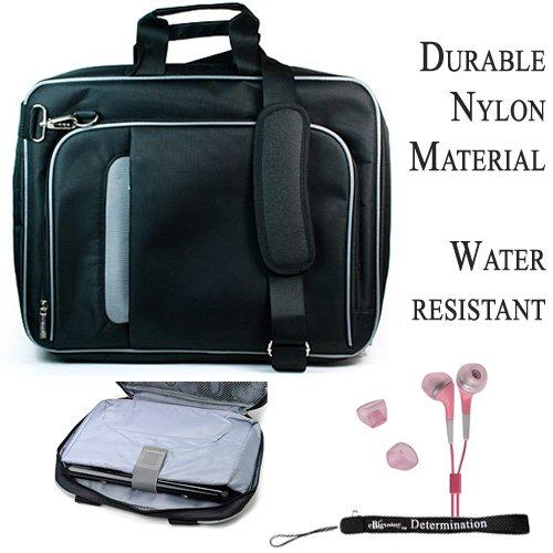 Pro Messenger Bag Soft Nylon Carrying Case (Black Silver) For Dell Inspiron Mini 10 Netbook + Pink Hd Earphones