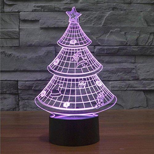 OFLAD® Visione 3D colore della luce sensibile al tocco LED accensione della lampada di atmosfera del dono dell'albero di Natale - Albero Di Natale Della Luce Di Notte