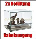 Glas Terrarium mit Belüftung 30x25x25 cm 30 25