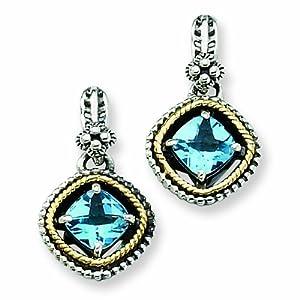 Sterling Silver with 14k 2.86Swiss Blue Topaz Earrings