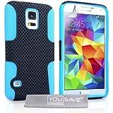 Yousave Accessories Coque Samsung Galaxy S5 Etui Noir / Bleu Silicone Gel Dur Mailles Combo Housse