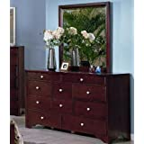 Nades Solid Wood Fully Assembled Dresser & Mirror , Cherry Finish