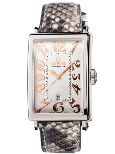 Gevril Women's 7045R.12 White Guilloched Dial Genuine Snake Skin Strap Watch