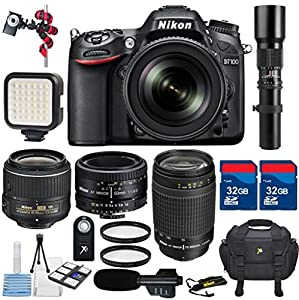 Nikon D7100 DSLR with 18-55mm Lens + 70-300mm G Lens + 50mm 1.8D Lens + 500mm Preset Zoom + 2pc 32GB Memory Cards + 2 UV Filters + Video LED Light + Professional Microphone - International Version