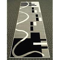 Modern Area Rug Runner 32 Inch X 7 Feet 6 Inch Geo 127 Grey