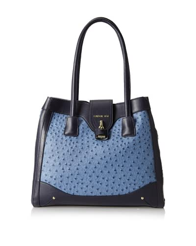 London Fog Women's Women's Lark Tote, Denim Ostrich As You See