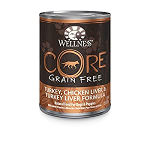 Wellness CORE Natural Grain Free Wet Canned Dog Food, Turkey, Chicken & Turkey Liver Recipe, 12.5-Ounce (Value Pack of 12)