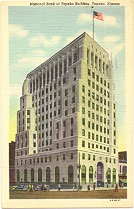 1950s Vintage Postcard - National Bank of Topeka Building - Topeka Kansas