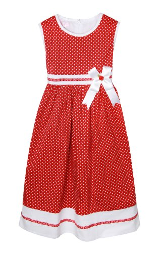 Richie House Girls' Summer Dress with White Dots and Ribbon RH0317