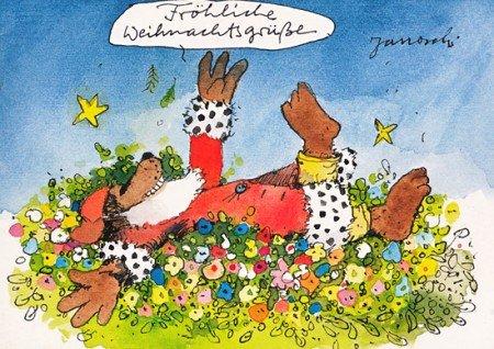 Janosch WeihnachtsPOSTkarte Bär im Blumenfeld
