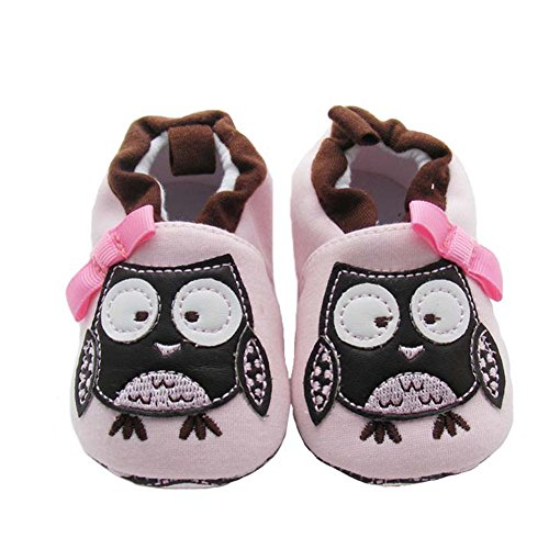 LIDIANO Unisex Baby Cartoon Owl Soft-sole Non Slip Toddler Crib Shoes Slippers Loafers (7-12 Months, Black Owl)