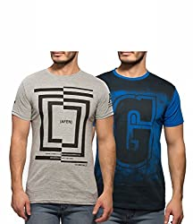 Yo Republic Mens Cotton Tshirt Combo Offer (Pack of 2)(AT-0041-1XL_Grey_Blue_X-Large)