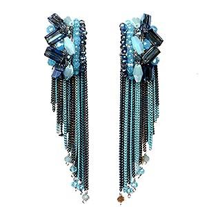 Girl Era Handmade Long Metal Tassel Crystal Women's Bohemian Dangle Earrings for Women(blue)