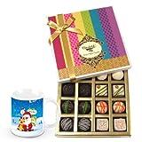 Pampering Assortment Of White And Dark Chocolate Box With Christmas Mug - Chocholik Belgium Chocolates